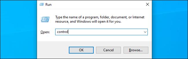 أمر بإطلاق لوحة التحكم على Windows 10