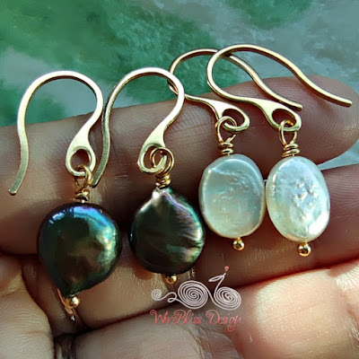 Wire wrapped coin and baroque pearl dangle earrings with vacuum plated stainless steel wire - in my palm