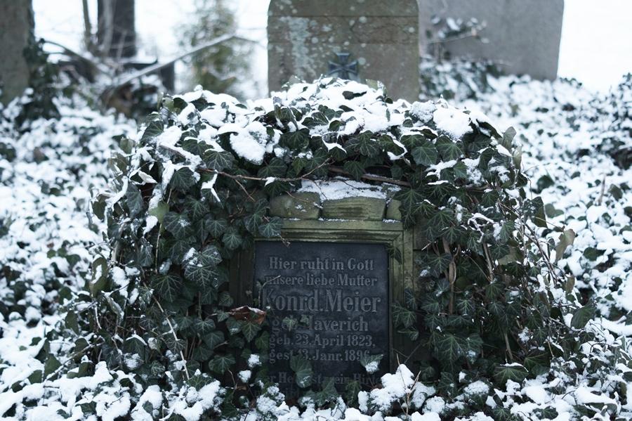 Blog + Fotografie by it's me! - Draussen - Frau Frieda sucht Schnee, Grabstein mit Efeu und Schnee