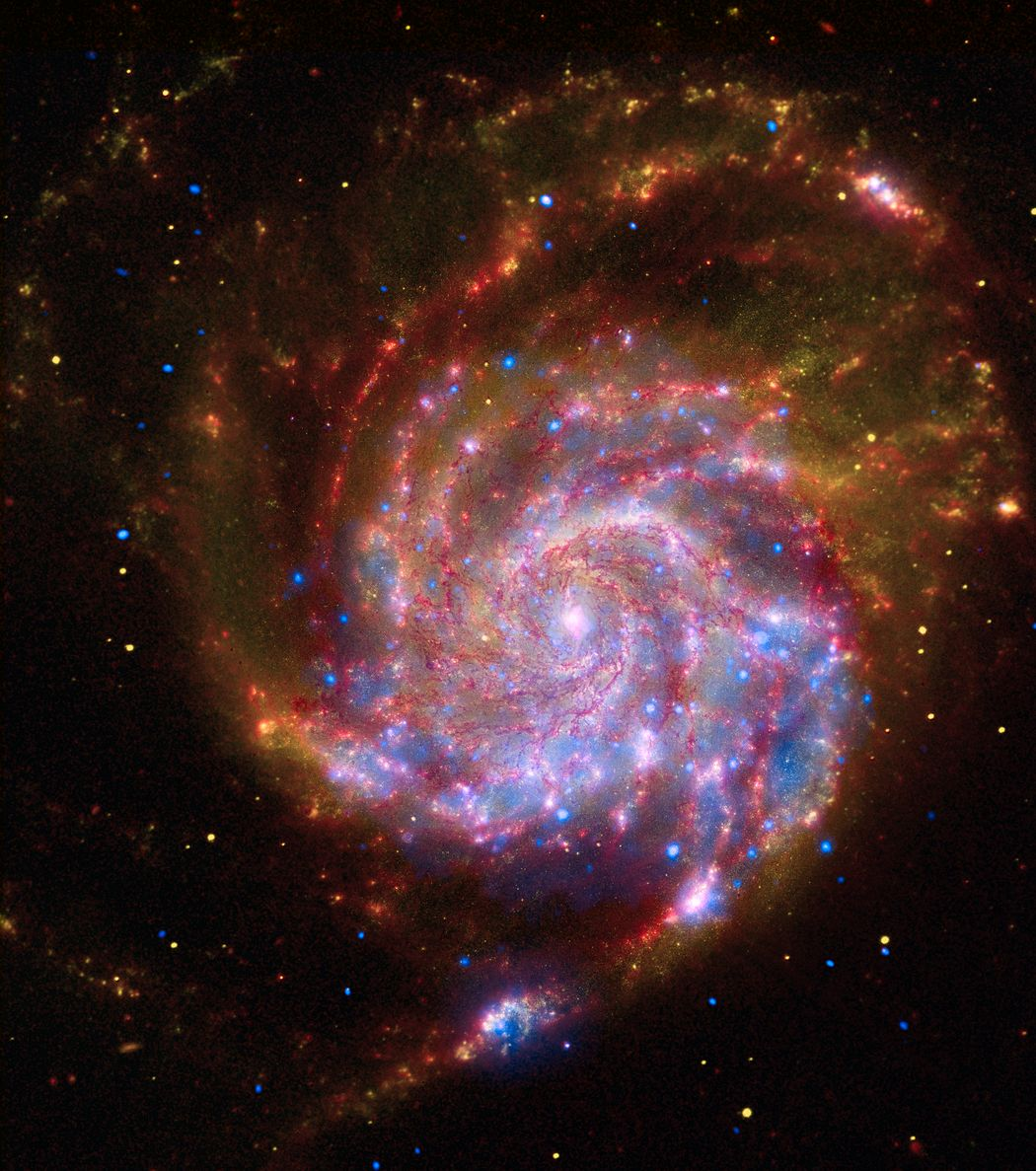 Universo Mágico: M101 por Chandra Hubble y Spitzer