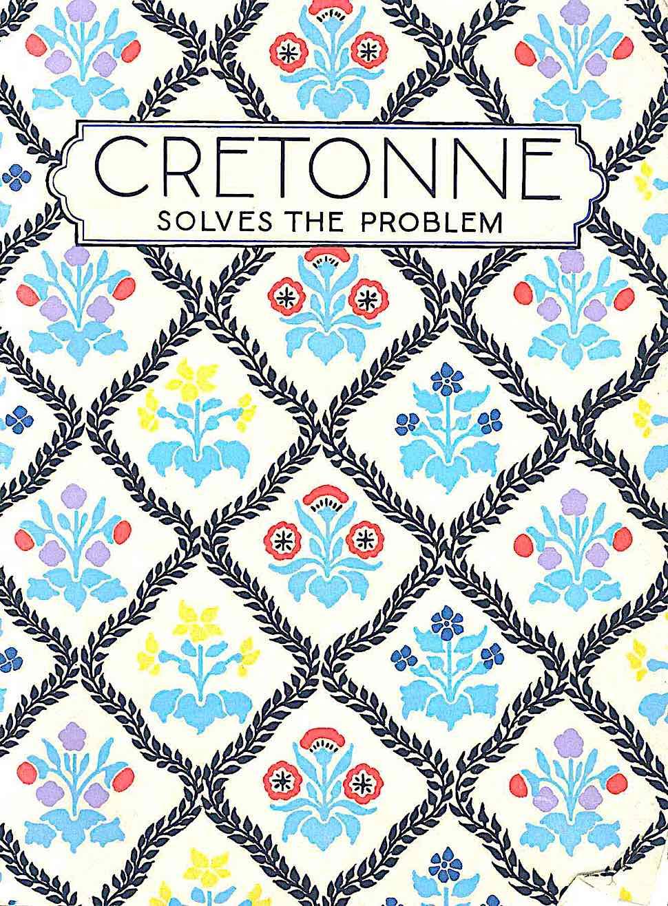 1925 printed Cretonne fabric in color