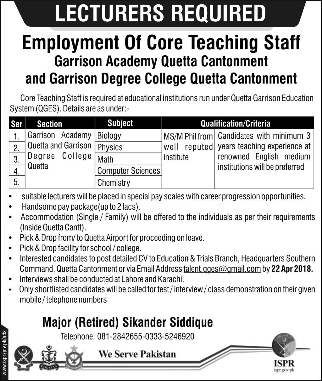Jobs In Garrison Academy And Garrison Degree College Quetta 2018 for 5 Posts
