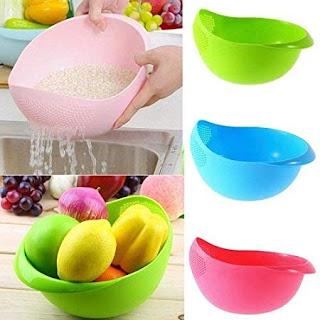 KhushiFab Plastic Kitchen Tool Rice Bowl Strainer (Multicolour) -Online Trade DD