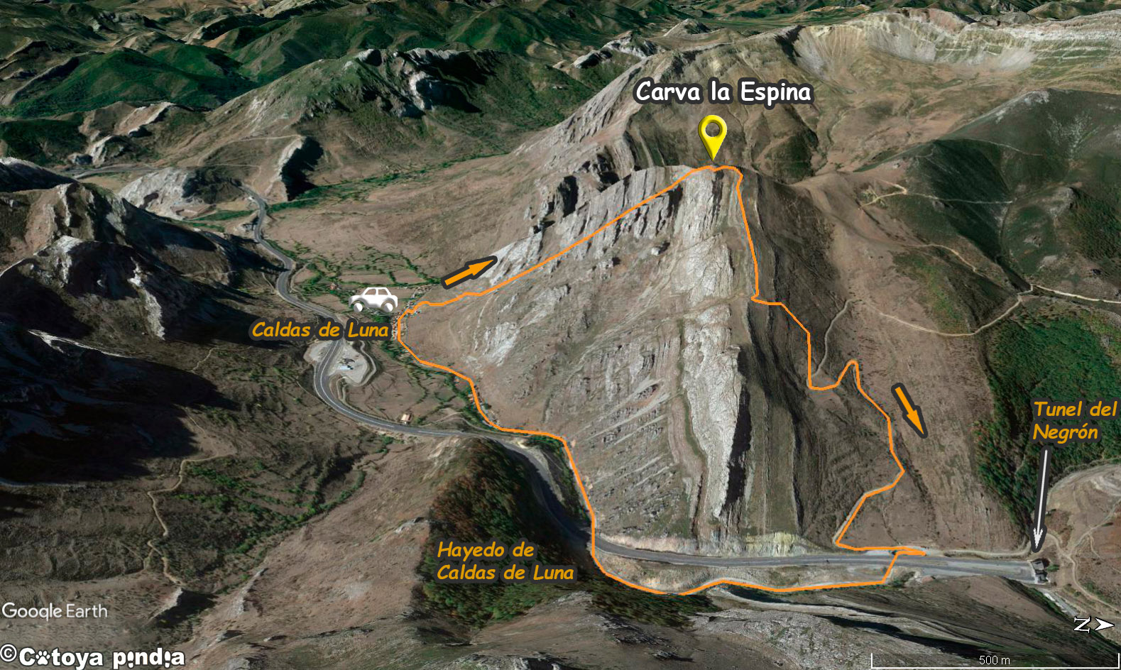 Mapa 3D de la ruta a la Carva la Espina desde Caldas de Luna en el Parque Natural Valles de Babia y Luna