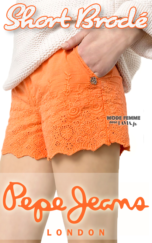 Short en coton brodé orange PEPE JEANS