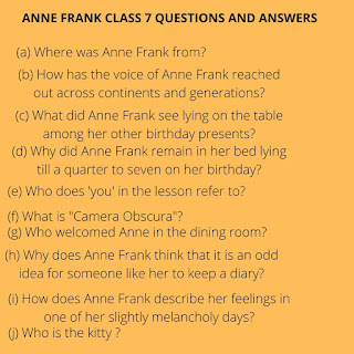 ANNE FRANK CLASS 7 QUESTIONS AND ANSWERS