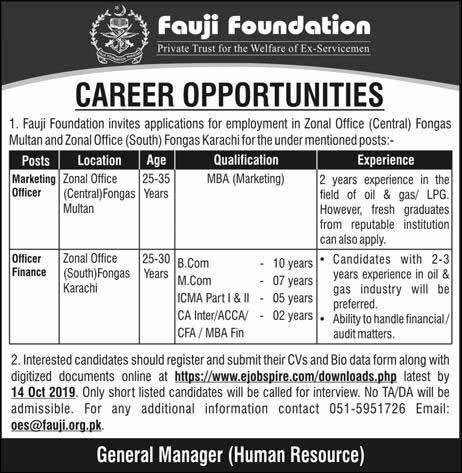 Fauji Foundation Jobs October 2019