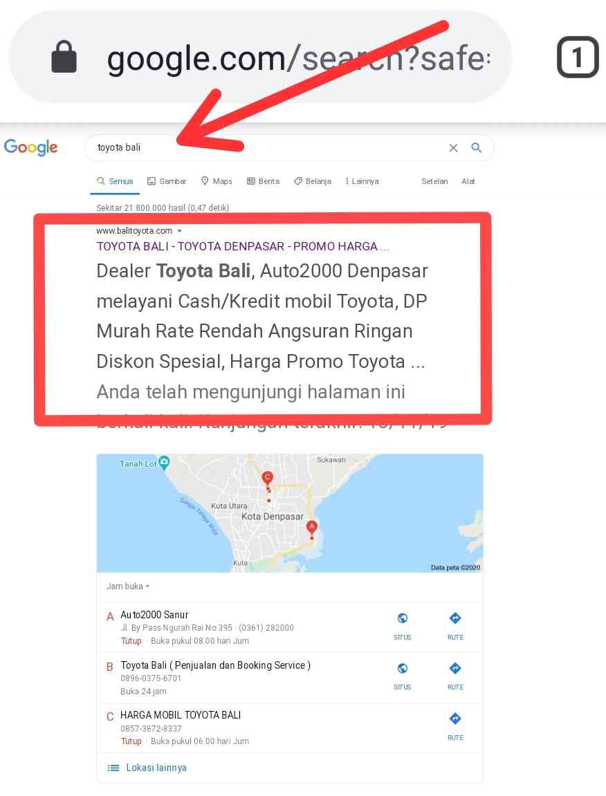 jasa SEO di Bali website Toyota Bali
