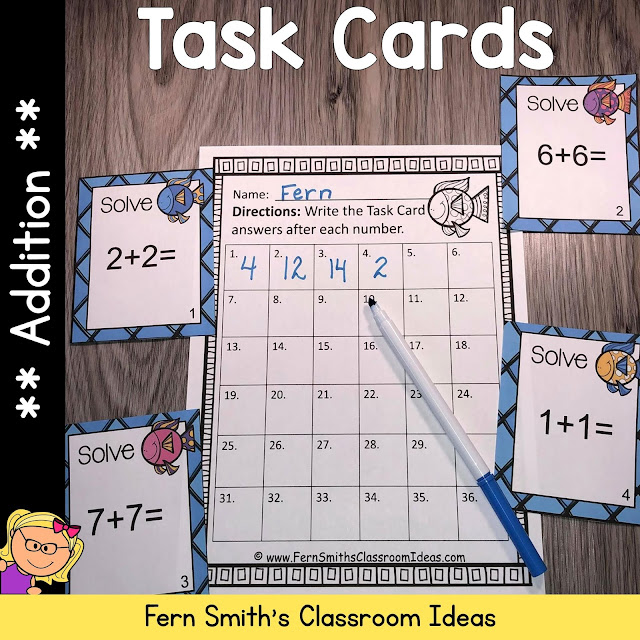 You will love how easy it is to prepare these Ocean Themed Addition and Subtraction Task Cards for Addition Doubles, Addition Doubles Plus One, Plus One, Plus Two, Plus Zero, Subtraction Doubles, Subtraction Doubles Plus One, Subtract One, Subtract Two, and Subtraction of Zero for your class. #FernSmithsClassroomIdeas