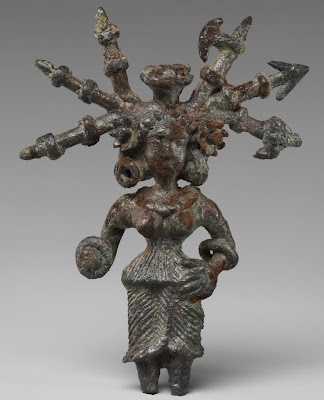 Bronze goddess with weapons in her hair from Kosambi, 2nd century BCE