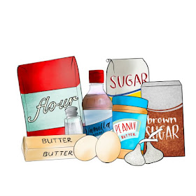 peanut butter blossom cookie ingredients illustrated