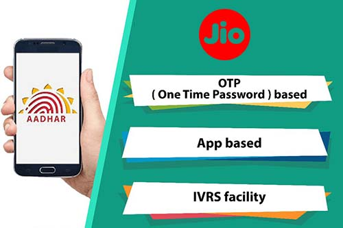 Link Aadhaar with Jio through OTP based, App based & IVRS Facility Methods
