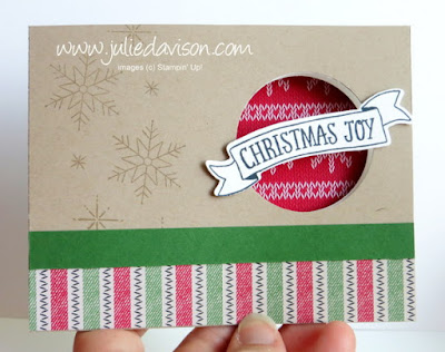 Stampin' Up! Stitched with Warmth & Cheer Peek-a-boo Flip Card #stampinup 2016 Holiday Catalog www.juliedavison.com