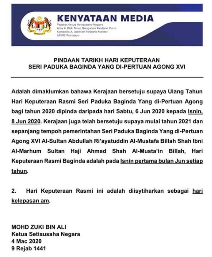 Isnin Minggu Pertama Jun Diisytihar Hari Kelepasan AM Malaysia