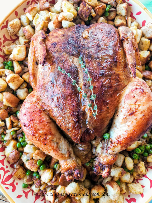 Anglo Indian Roast Chicken and Stuffing, roast chicken and stuffing, roast chicken whole, roast chicken in oven