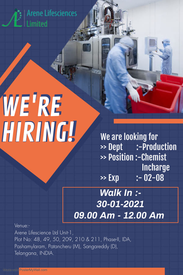 Arene Life Sciences | Walk-in interview for Production on 30th Jan 2021