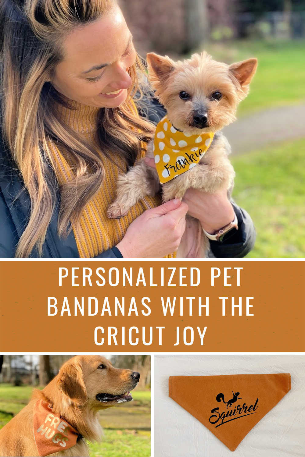 personalized pet bandanas using the cricut joy