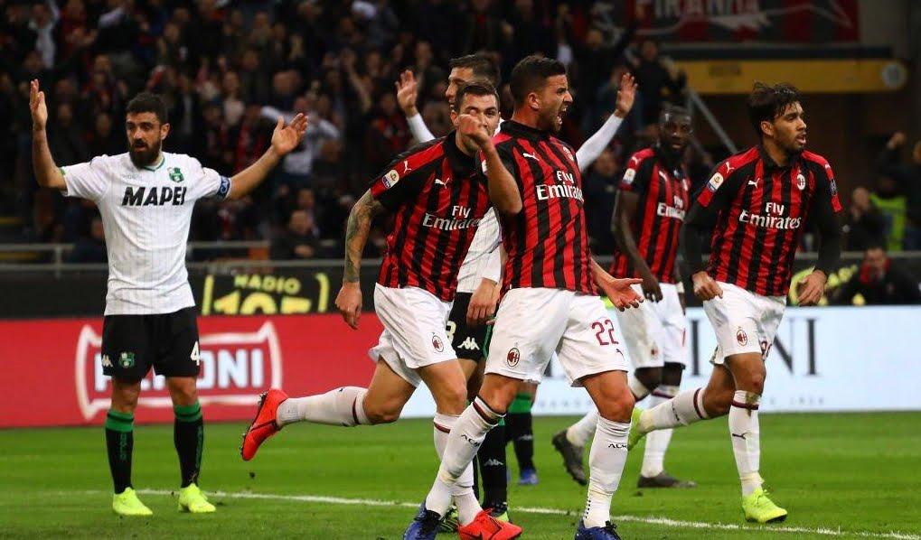 Milan supera l'Inter al 3° posto, battuto il Sassuolo 1-0.