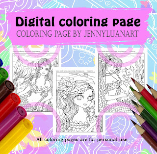 anime mermaid and friends coloring page by JennyLuanArt