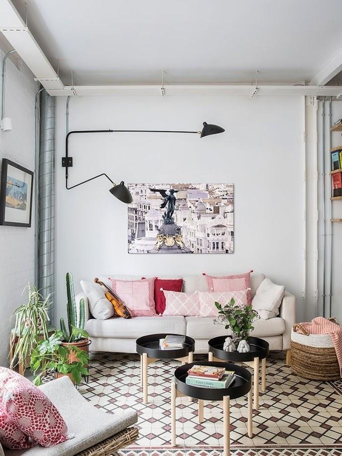 Loft moderno con tocchi boho e vintage a Madrid - quando un appartamento diventa un loft