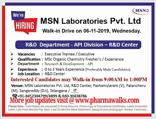 MSN Laboratories - Walk-in interview for Freshers and Experienced candidates on 6th October, 2019