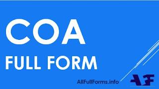 COA Full Form