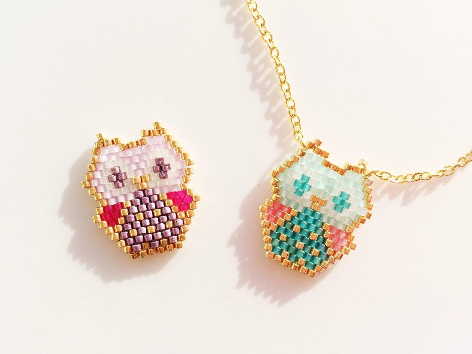 Diy Baby Owl Miyuki Beads Pendant Petit Bout De Chou