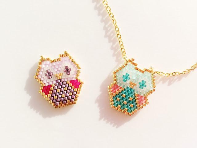 Baby owl miyuki beads pendant