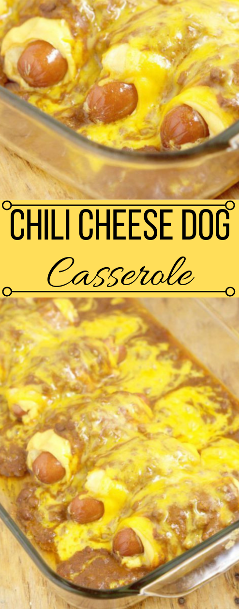 Chili Cheese Dog Casserole #dinner #casserole #chili #cheese #yummy