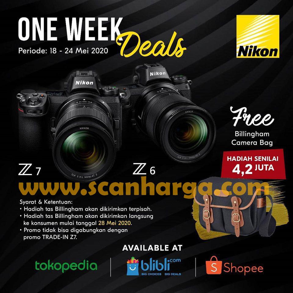 Promo Harga Nikon Kamera Z6 & Z7 + Gratis Bilingham Camera Bag 18 - 24 Mei 2020