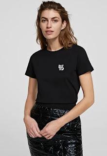 Дамска памучна черна Тениска - Karl Lagerfeld