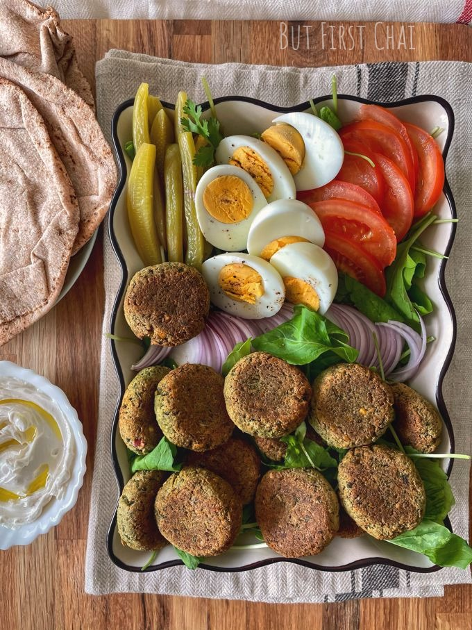 Baked Falafels served with accompaniments