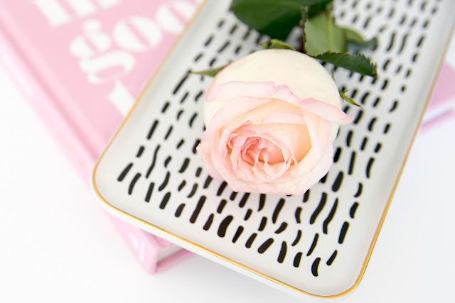 Pink Rose and black and gold tray