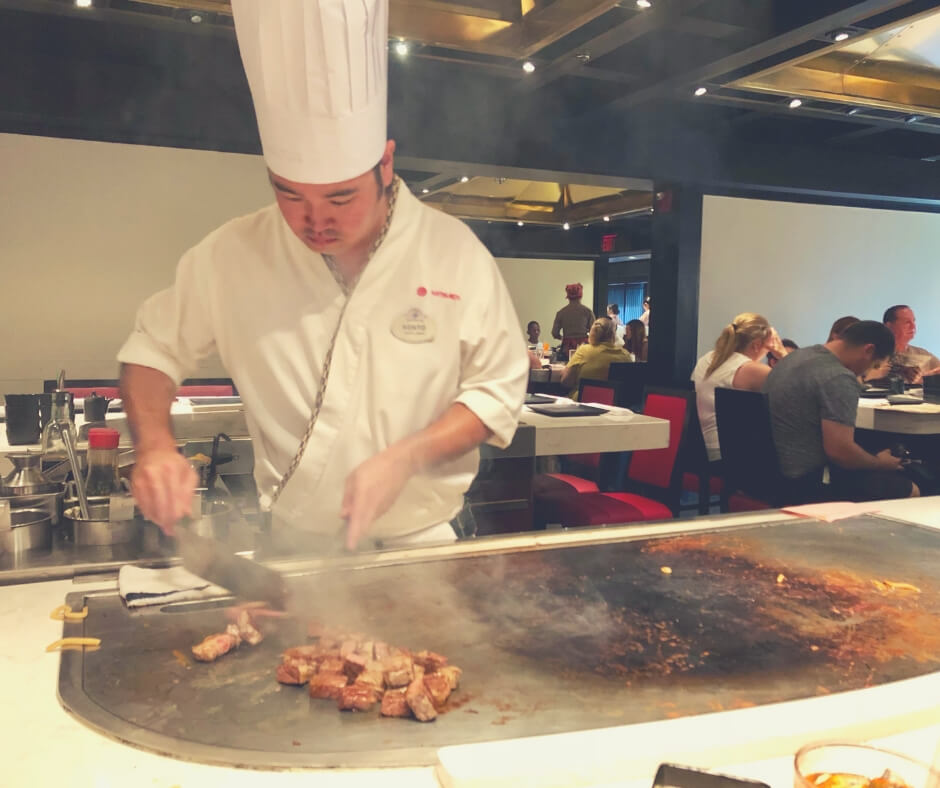 The Best Restaurants In Walt Disney World You Need To Book Now | The Chef at Tepan Edo cooking our food - very entertaining.