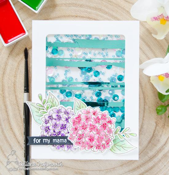 Newton's Nook Designs & Therm O Web Inspiration Week | Foiled Floral Shaker Card by Tatiana  | Lovely Blooms Stamp Set by Newton's Nook Designs #newtonsnook #thermoweb