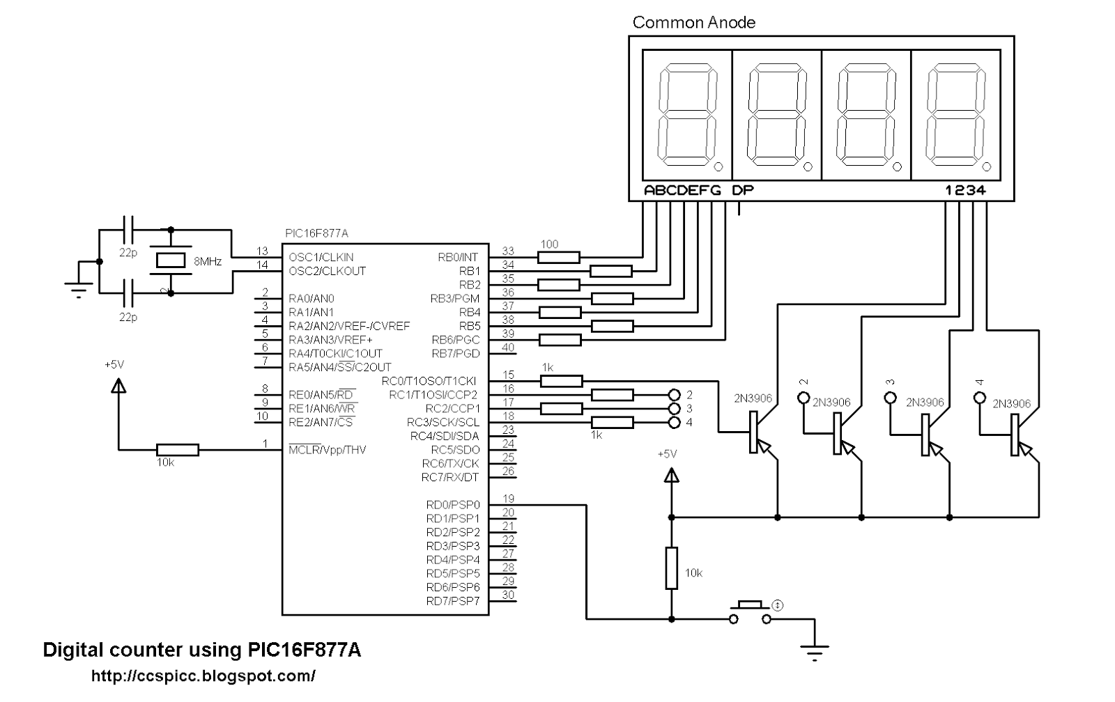 4 Digit Digital Counter Using Pic16f877a And Ccs C Compiler