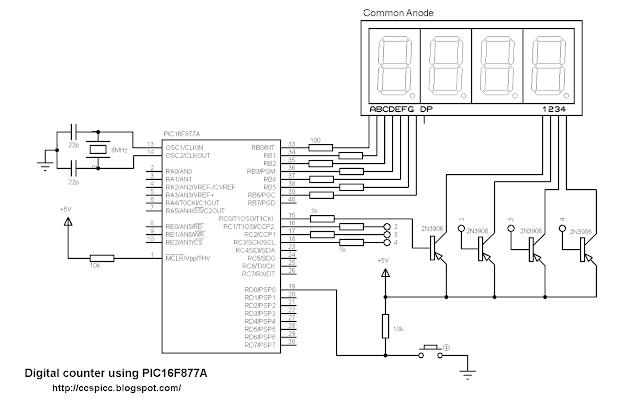 pic16f877a 7 segment display ccs pic c common anode