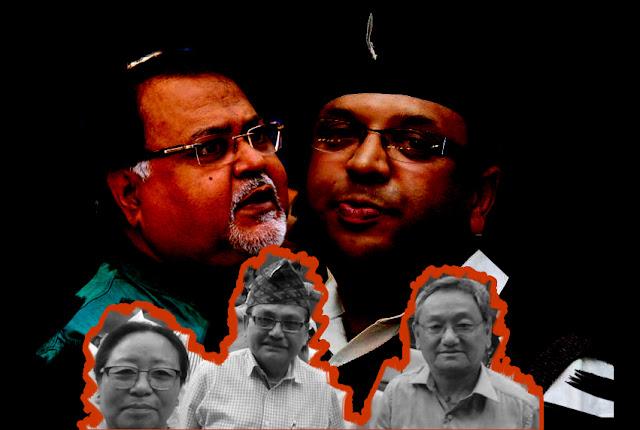 Roshan Giri accompanied by hill MLAs Amar Singh Rai, Sarita Rai and Rohit Sharma met state education minister Partha Chatterjee