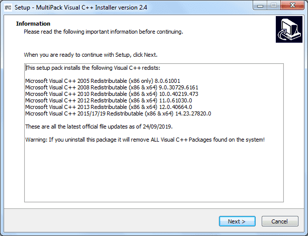 Screenshot MultiPack Visual C++ Installer 2.4