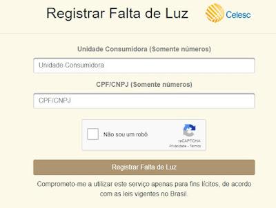 Imagem da Pagina de acesso do site Falta Energia da Selesc