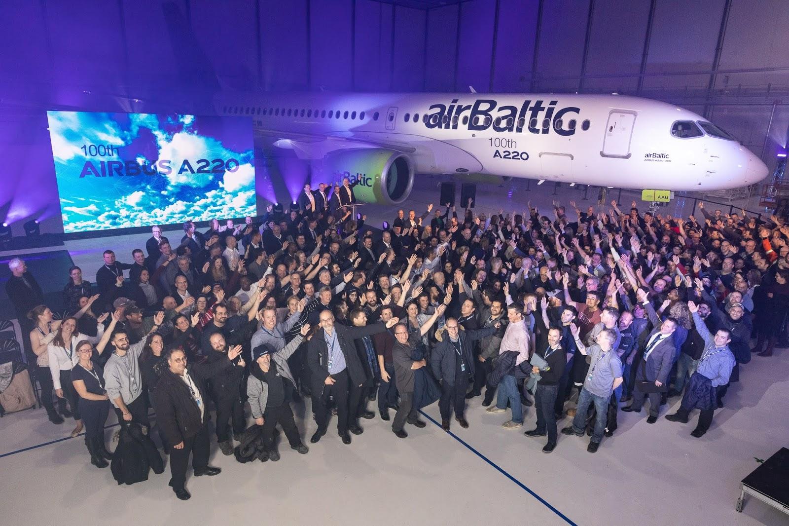 Airbus comemora a 100ª aeronave A220 produzida | É MWIS QUE VOAR