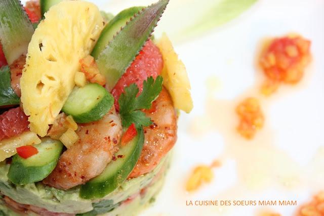 la cuisine des soeurs miam miam salade d 39 avocat crevette ananas avec sauce aux agrumes. Black Bedroom Furniture Sets. Home Design Ideas