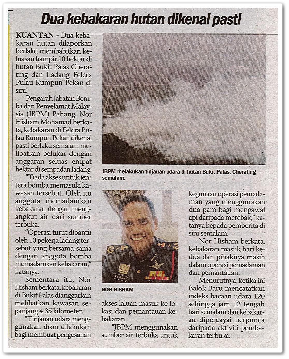 Dua kebakaran hutan dikenal pasti - Keratan akhbar Sinar Harian 7 Ogos 2019