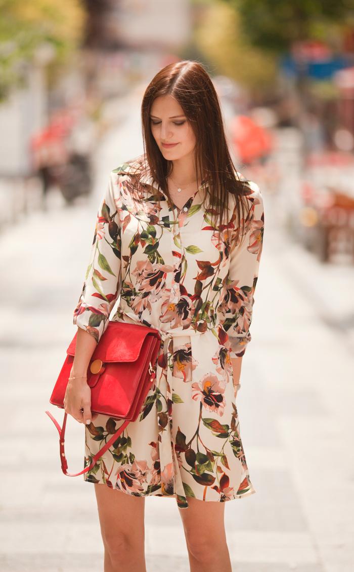 33f83ad456 Striped Floral Shirt Dress Zara