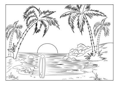 Gambar pemandangan pantai hitam putih