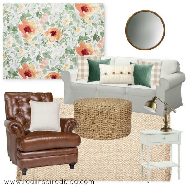 How to design a room from a fabric swatch. This watercolor floral is the inspiration for an entire room design. All the other colors and patterns are in harmony with it. Even the style of the room is drawn from the fabric: laid-back traditional with a fresh, modern twist. There's leather chair and jute rug, brass lamps and white tables, white sofa and gingham and green velvet pillows.