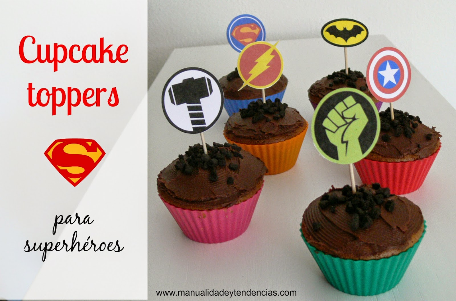 Cupcake toppers de superhéroes gratis