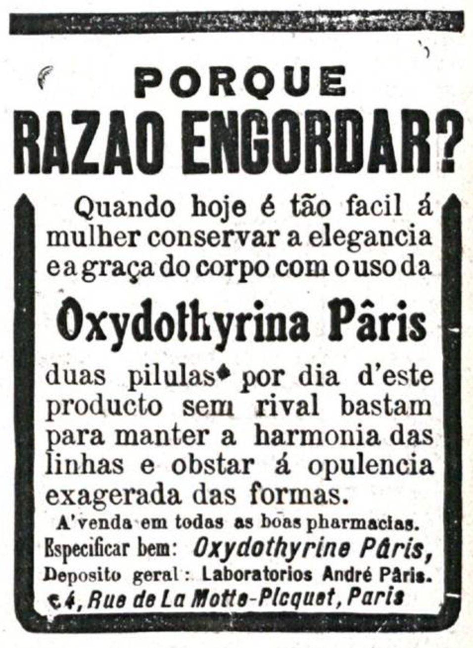 Propaganda antiga de remédio para emagrecimento das mulheres veiculada em 1921.