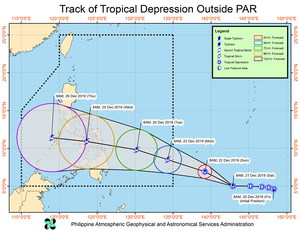 Track of Tropical Depression Ursula
