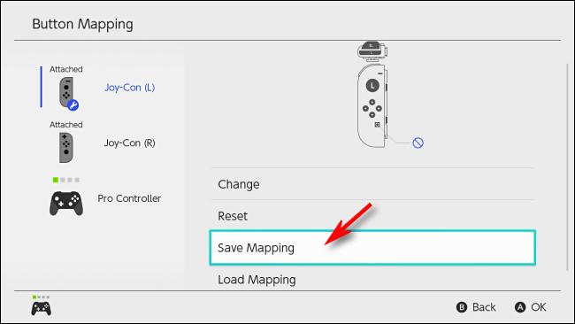حدد حفظ التعيين على Nintendo Switch